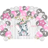Baby Shower Supplies Decorations For Girl, Elephant Backdrop And Balloons Kit For Girls Photo Background, (No Banner Cake Topper, Favors And Flatware)