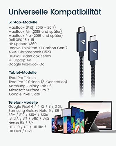 RAMPOW USB C auf USB C Kabel, 4K@60Hz USB 3.2 Typ C Kabel, USB C Kabel Kompatibel mit MacBook, MacBook Air, HTC U11, LG G5/LG G6, Samsung Galaxy A3/A5/A7 2017-2m Marineblau