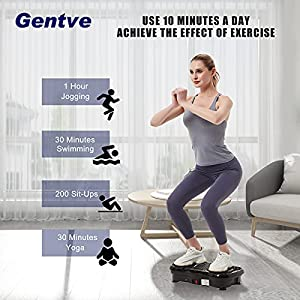 Gentve Vibration Plate Exercise Machine - Whole Body Workout Machine ,Fitness Vibration Platform Machine for Weight Loss & Foots Massage with Loop Bands + Bluetooth + Remote, 99 Levels