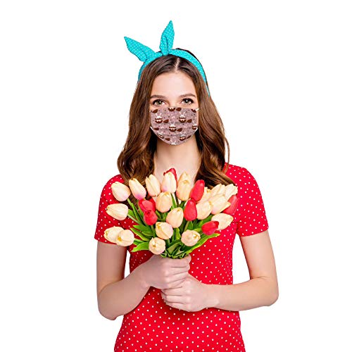 CawBing Adult Easter Disposable_Face_mask_protection Soft Breathable 3 Ply Popular Easter Eggs and Rabbit Printing Face_mask_protection for Outdoor Anti-dust (10 Pcs)