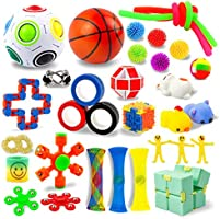 AKILION Sensory Fidget Toys Set, 34 Pack, Stress Relief and Anti-Anxiety Fidget Toy for Kids & Adults, Bundle Toys,...