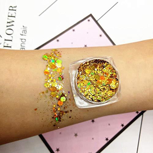 QINQ 30g 18 Couleurs Glitter Shimmer Fard À Paupières Visage Corps Oeil Bijoux Pigment Sequin Brillant Longue Durée Étanche Maquillage Outils, 02