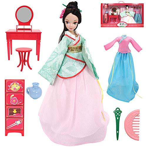 QqHAO Chinesische Puppe Stil Alter Kostüm-Puppen Handmade Collection Geschenk mit Puppenkleidung Perücke Schuhe,A