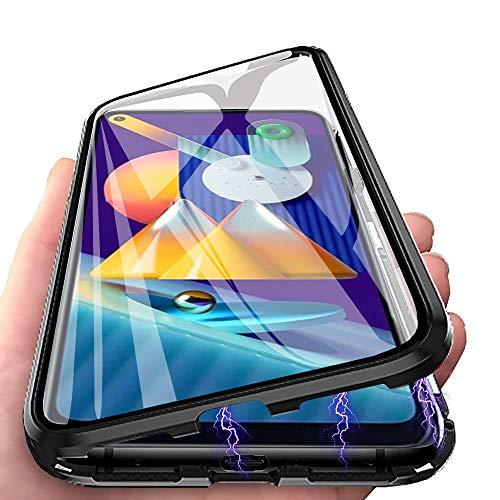 HülleLover für Samsung A12 Hülle, Handyhülle für Samsung Galaxy A12/M12 5G Hülle Magnetic Adsorption, 360 Grad Komplettschutz Schutzhülle Doppelseitige Aus Gehärtetem Glas Metall Flip Cover, Schwarz