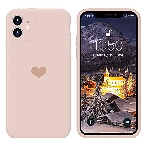 13peas Kompatibel mit iPhone 12 Mini Hülle 5.4''(2020),Herz Motiv Liquid Silikon Gummi Ganzkörperschutz stoßfeste Hülle schutzschale Hüllen Tasche Handytasche Etui für Apple 12 Mini (Rosa)