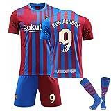 JTYDFG Camisetas Hombre, Camiseta Barcelona Local N ° 9 Camisetas Agüero, Camisetas con Calcetines Adultos Niños,Red Blue,XS