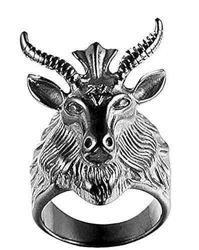 Anillo para hombre de cabra y estrella david, símbolo oculto de satana, color plata envejecida, tamaño 22, diámetro 19,7 mm