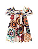 Hipea Toddler Baby Girl Clothes Bohemian Sleeveless Flower Princess Floral Formal Kids Summer Dress Skirt(Sunflowers, 4-5T)