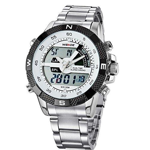 WEIDE Reloj de Pulsera para Hombres con Alarma con la Plata de Aleación LCD Digital Deportivo Impermeable entre 30M
