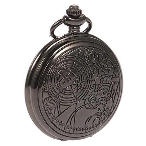 Reloj de Bolsillo Doctor Que Doctor Who Antiguos De la Vendimia de Negro médicoque Cuarzo con Cadena y la Caja de Regalo