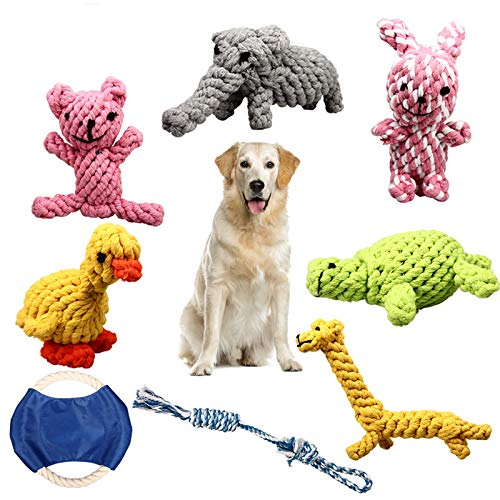 ZOUTOG Puppy Chew Toys, Set of 8 Dog Rope Toys for Aggressive Chewers, Dog Toys with Safe Material for Small/Medium/Large Dog Pets, for Playtime and Teeth Cleaning
