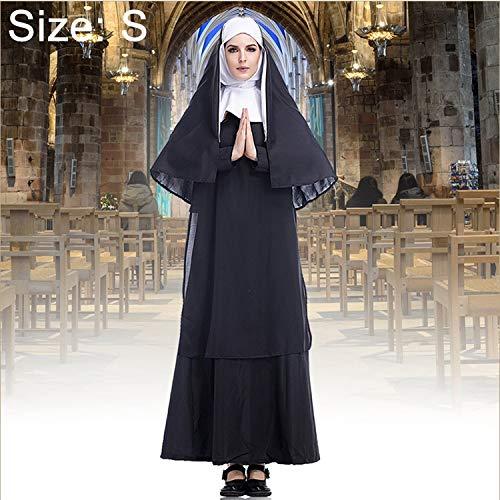 WXX Disfraz de Halloween Mujer Monja Misionera Cosplay Ropa, Tamao: S, Busto: 92cm, Longitud del Vestido: 138cm, Anchura del Hombro: 38cm (Color : Color1)