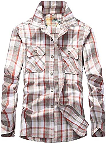 Wangyi Chemise Hommes Slim Fit manche longue Plaid Décontracté Button Shirt hauts