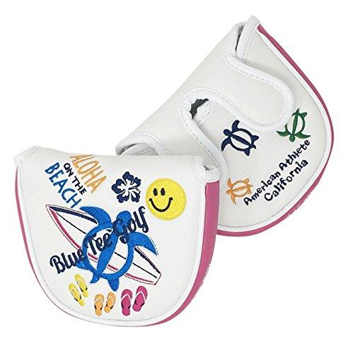 ブルーティーゴルフ 【BLUE TEE GOLF】 マレット型パターカバー【アロハ オン ザ ビーチ】 (ピンク・ホワイト)