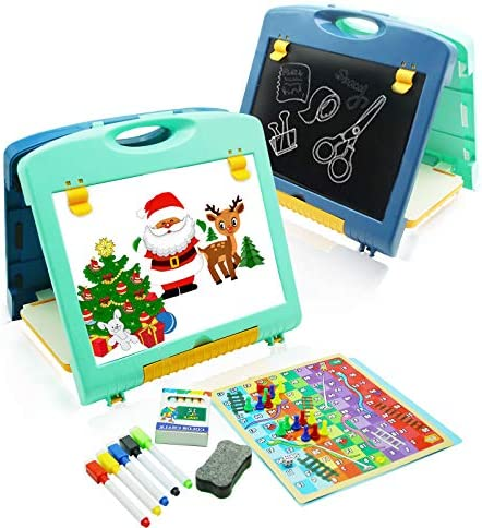 QDH Kids Tabletop Easel Double Sided Whiteboard Chalkboard Art Easel for Kids Painting Writing product image