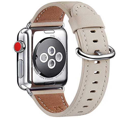 WFEAGL Kompatibel für Watch Armband 38mm 40mm 42mm 44mm,Top Grain Lederband Ersatzband mit Edelstahl-Verschluss Kompatibel für Serie 5/4/3/2/1(38mm 40mm,Elfenbein Weiße+Silber Adapter)