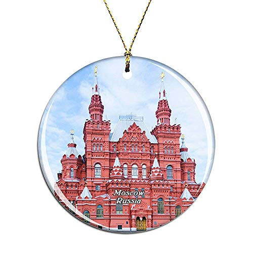 Russia Red Square Moscow Christmas Ornaments Ceramic Christmas Tree Decoration Hanging Ornament Xmas Gifts for Kids Girls