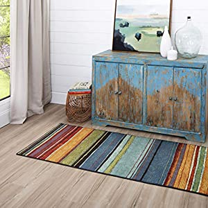 Mohawk Home New Wave Rainbow Stripe Runner Area Rug, 2'x8′, Multi