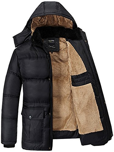 Fashciaga Men's Hooded Faux Fur Lined Quilted Winter Coats Jacket (X-Large, Black)