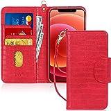 FYY Cover iPhone 12 Mini, Custodia iPhone 12 Mini 5G 5.4',[Funzione di Staffa] Flip Custodia Portafoglio Libro in Pelle PU Premium con Slot per Schede per iPhone 12 Mini 5.4 Pollice 2020-Cro Rosso