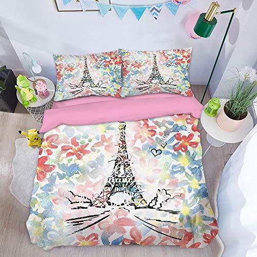 RGHRGSF Duvet Cover Set,3d Printed Famous Iron Tower Quilt Cover Sets With Matching Pillowcase,B-GBSingle135cmx200cm