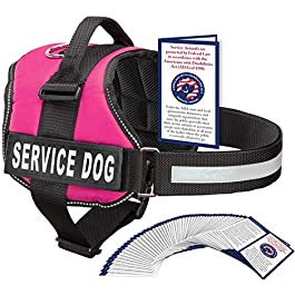 Industrial Puppy Service Dog Harness With Velcro Straps and Handle | Available In 7 Sizes From Extra Small to Extra Large | Vest Features Reflective Patch and Comfortable Mesh Design From