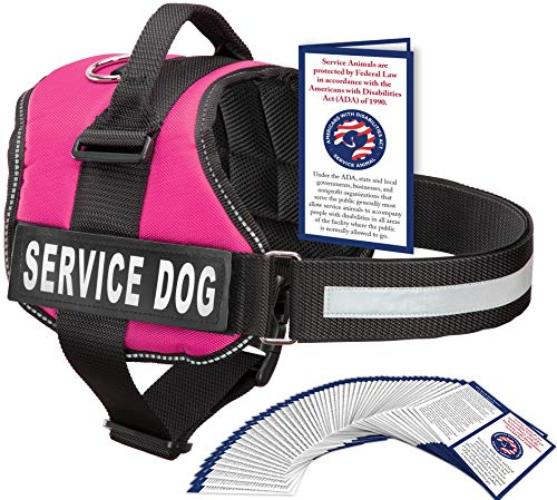Service Dog Vest with Hook and Loop Straps and Handle - Harness is Available in 8 Sizes from XXXS to XXL - Service Dog Harness Features Reflective Patch and Comfortable Mesh Design (Pink, Large)