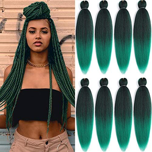 """8 Packs Pre-Stretched Braiding Hair 20"""" Braids Professional Synthetic Hair for Crochet Twist (20"""" 8 Packs, T1B/Green)"""