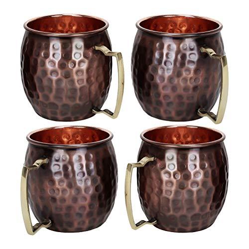 Set di 4 tazze da mulo moscato antico in rame martellato Zap Impex