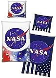 BERONAGE NASA Bettwäsche Stars & Stripes Glow in The Dark 135 x 200 cm + 80 x 80 cm 100% Baumwolle...