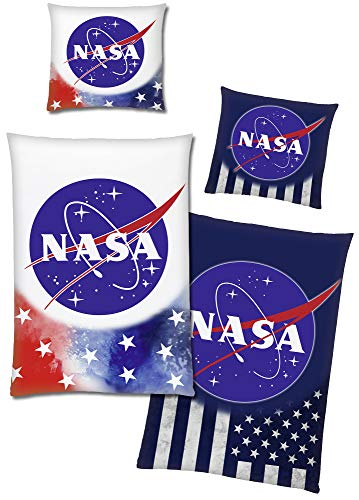 BERONAGE NASA Bettwäsche Stars & Stripes Glow in The Dark 135 x 200 cm + 80 x 80 cm 100% Baumwolle Renforcé-Linon-Qualität mit Opti-Reißverschluss 2 Motive Weltraum Amerika USA Astronaut Raumfahrt