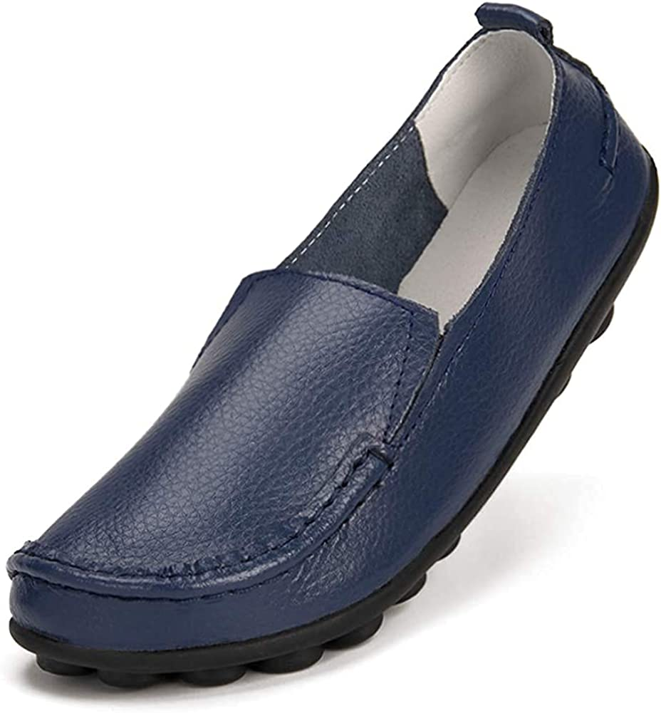 Harence Shoes for Women Casual Slip On Driving Loafers Comfortable Leather Outdoor Walking Flat Shoes