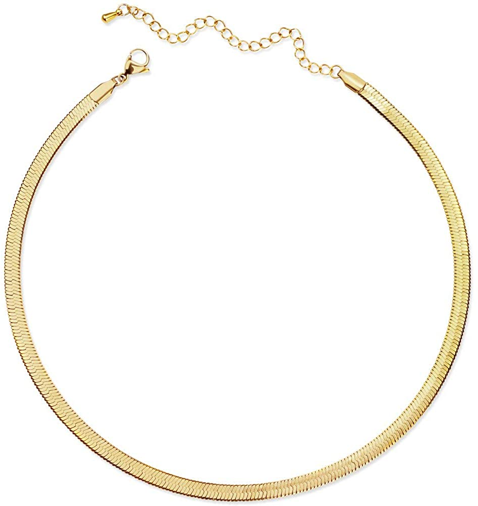 CLASSYZINT Gold Flat Chain Necklaces for Stainless Memphis Mall Women OFFicial shop Steel S