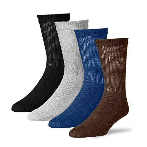 Diabetic Crew Socks for Men - 12 Pack - Made in USA (Black, Gray, Brown, Navy, 10-13)