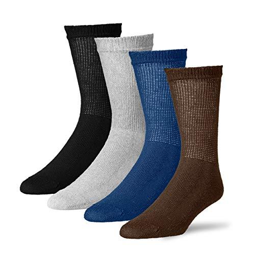 Diabetic Crew Socks for Men - 12 Pack - Made in USA (Black, Gray, Brown, Navy, 10-13)
