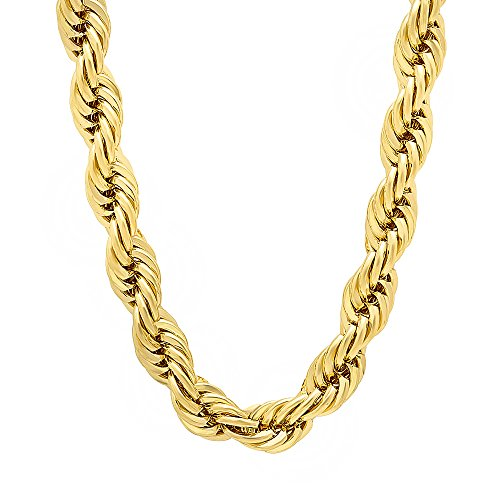 Boy's 14k Gold Plated 7mm Chunky French Rope Chain Necklace, 20 inches + Microfiber Polishing Cloth