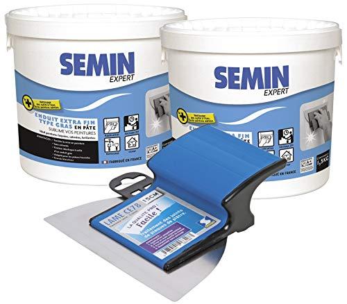 Semin A07252 Enduit Extra Fin, Lissage Type Gras, Sans Solvants, Séchage Rapide, Intérieur/Extérieur, Seau de 1,5 kg (Lot de 2) et A06318 Lame CE 78 pour Enduire et Lisser, 15 cm