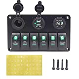 KAOLALI Panel de interruptor basculante de 6 bandas LED con doble puerto de cargador USB impermeable para coche RV camión barco marino Rocker Switch Panel