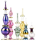 NileCart Egyptian Perfume Bottles 2-5 in Collection Set of 6 Mouth-Blown Decorative Pyrex Glass with Handmade Golden Egyptian Decoration for Perfumes & Essential Oils