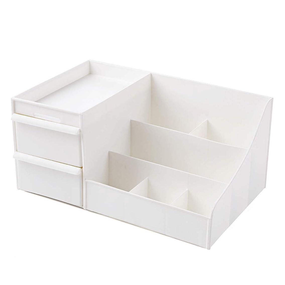 不良品仮説寄稿者[Shinepine] 化粧品収納ボックス 引き出し 仕切り収納 メイク収納 小物収納 スタンド 化粧品入れ メイクケース 卓上小物入れ メイク収納ケース アクセサリーボックス (#2 引き出し 白)
