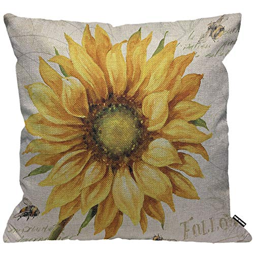 HGOD DESIGNS Sunflower Cushion Cover,Oil Painting Sunflower Throw Pillow Case Home Decorative for Men/Women Living Room Bedroom Sofa Chair 18X18 Inch Pillowcase 45X45cm