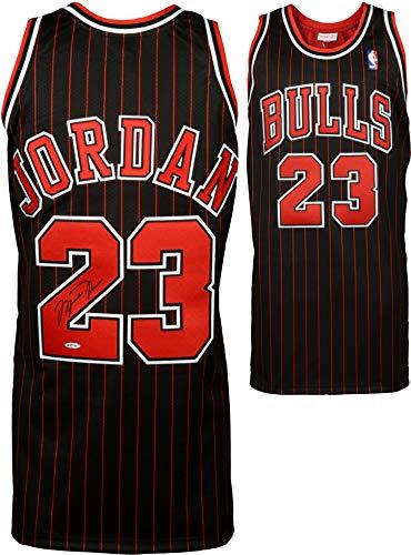 Michael Jordan Chicago Bulls Autographed Black & Red Pinstripe Jersey - Upper Deck - Autographed NBA Jerseys