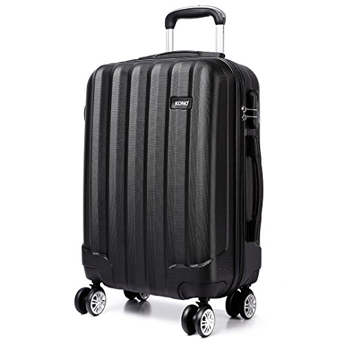 Kono 28 inch Large Hard Shell Luggage Lightweight ABS with 4 Spinner Wheels Business Trip Trolley Case Suitcase (Black)