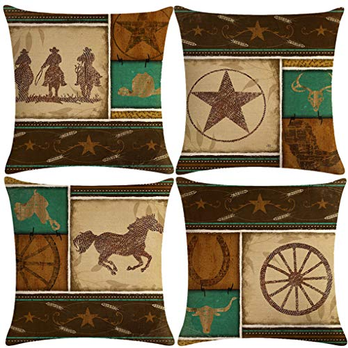 7COLORROOM Set of 4 Vintage Western Cowboys Pillow Covers Wild West Cowboy Riding Horses Theme Cushion Cover Cotton Linen Home Decorations Pillowcases 18' x 18' (West Cowboy)