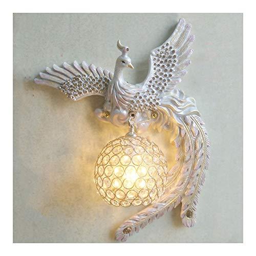 Phoenix lámpara de pared creativa de la lámpara de pared Luz de lujo Dormitorio Sala de la lámpara de pared de cristal Sala de TV pared del balcón de noche pared caliente rosa E14 (tamaño : Right)