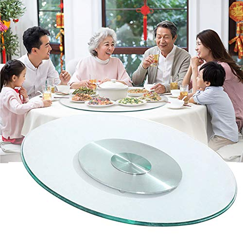Lazy Susan Turntable, Sturdy Clear Glass Top And Aluminum Alloy Bearing Base, For Kitchen, Restaurant, Dining Table, Easy To Use, No Assembly Required