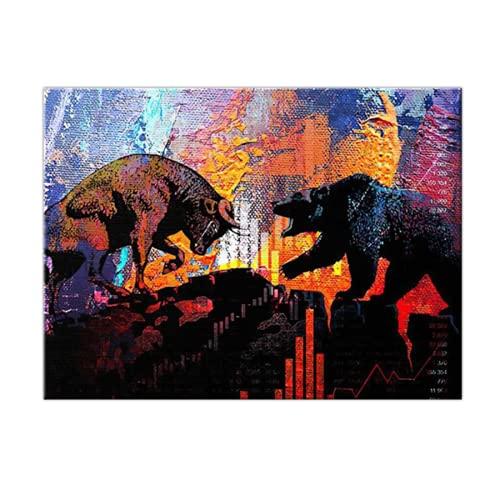 Pinturas abstractas al óleo sobre lienzo de toro y oso, póster artístico de pared colorido e impresión, imagen artística de pared para la decoración del hogar de la sala de estar