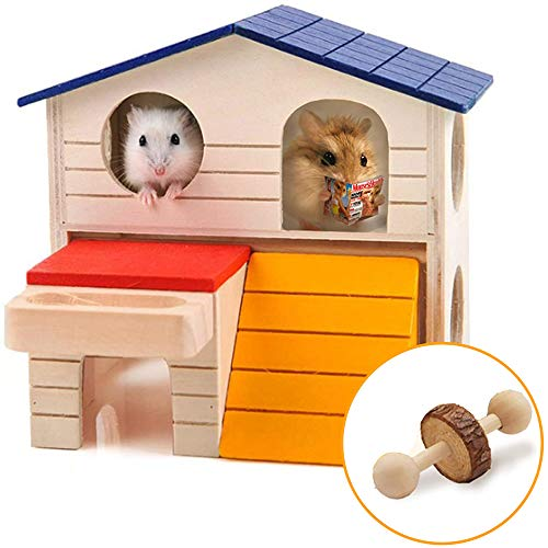 Highland Farms Select Pet Small Animal Hideout Hamster House Deluxe Two Layers Wooden Hut with a Unicycle Play Toys Chews