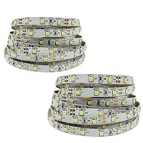 FISHTEC  Set di 2 Nastri Adesivi LED, 180 cm, Illuminazione per Letto, 2 rilevatori, 60 LED/Metro