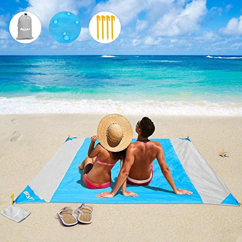 OUSPT Beach Blanket, Sand Free Picnic Outdoor Mat- Large 78'' x 82'' - Pocket Zippered Portable Waterproof Soft Fast Drying Nylon Oversize Blanket for Travel Camping Hiking (Blue)
